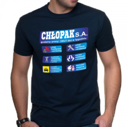 Koszulka dla faceta z nadrukiem Chłopak SA